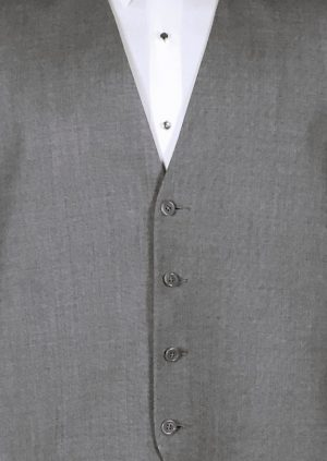 Medium grey 4 button fullback wool suit vest with two tone grey striped bow tie