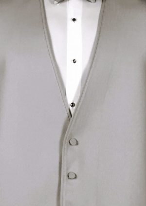 Silver 3 button fullback vest with siver striped bow tie