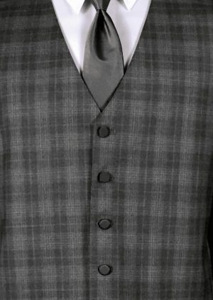 Grey plaid 5 button fullback wool vest with charcoal satin windsor tie