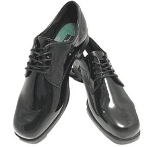 black patten leather lace up shoes