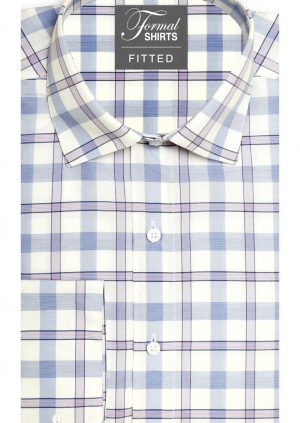 Pink-Blue-Lilac-Plaid-Fitted-Dress-Shirt